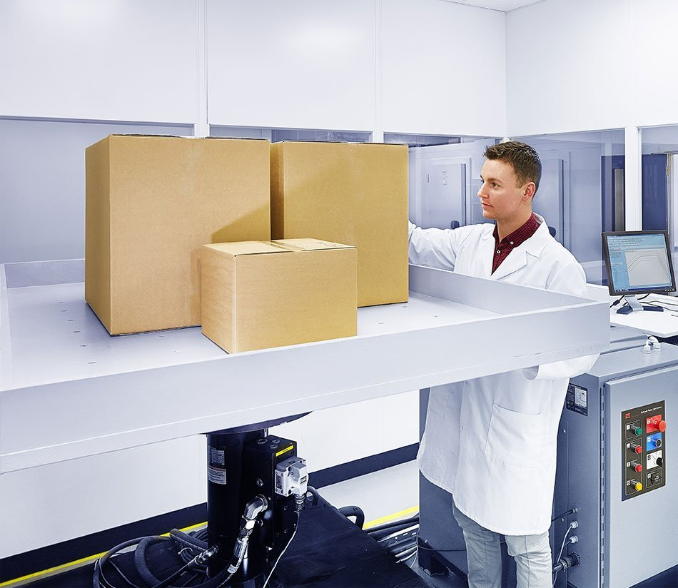 Male Bemis Healthcare Packaging Europe employee carrying out vibration-testing