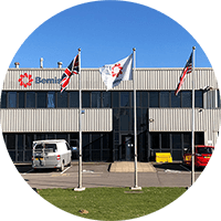 Front of Bemis Healthcare Packaging Europe building in Elsham