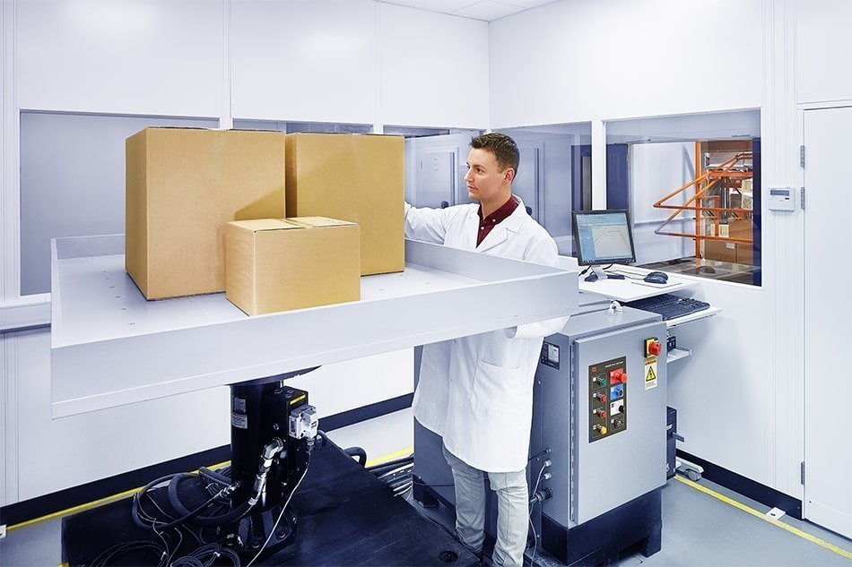 A male Bemis Healthcare Packaging Europe employee carrying out vibration-testing